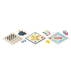 board games isometric various tools for vector image