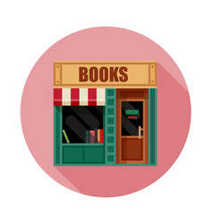 Book shop front view flat icon vector