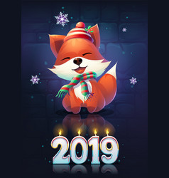 cartoon funny fox greeting vector image