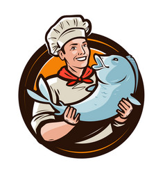 Cheerful cook with fish seafood food logo or vector