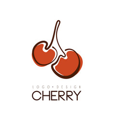 cherry logo design creative template with two vector image