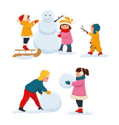 Children make a snowman vector