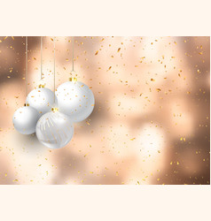christmas baubles on confetti background vector image