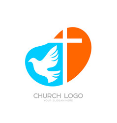 Church logo and cristian symbols vector