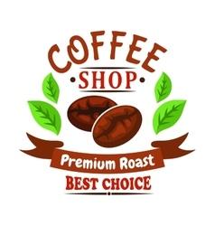 Coffee beans of brazilian arabica badge design vector
