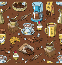 coffee pattern seamless coffeebeans and coffeecup vector image