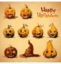 Collection of jack o lanterns drawn in a sketch vector