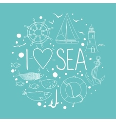 Collection of nautical elements in a circle shape vector image