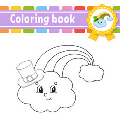 Coloring book for kids rainbow in hat cheerful vector