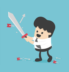 concept business people holding sword fight arrows vector image