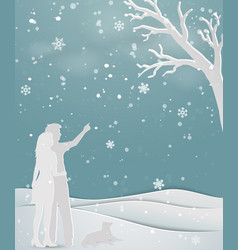 concept of love in winter season vector image