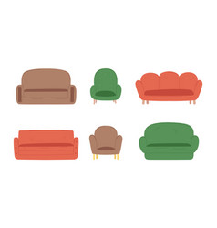 couches different colors cartoon set vector image