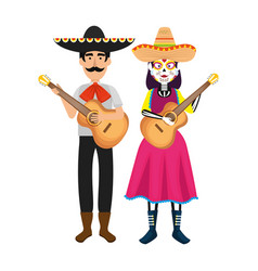 Couple of mexican mariachi characters vector