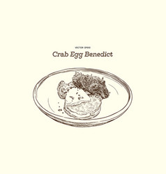 Crab cake on top with egg benedict hand draw vector