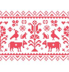 cross stitch seamless folk art pattern vector image