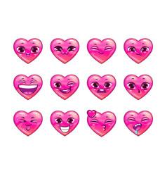 cute cartoon pink heart emoji set vector image