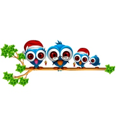 cute chritsmas blue birds family vector image
