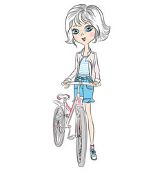 cute girl with bicycle vector image