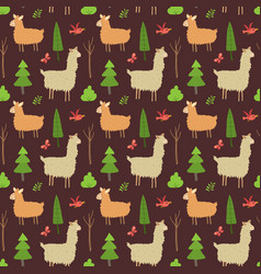 cute lama seamless pattern cartoon animals in vector image