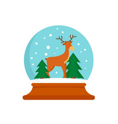 Deer glass snow ball icon flat style vector