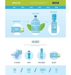 Design template with icons of water bottle office vector