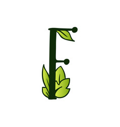 Doodling eco alphabet letter ftype with leaves vector