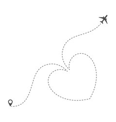 Dotted heart airplane route vector
