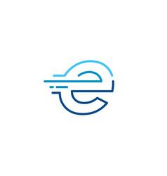 E letter dash lowercase tech digital fast quick vector