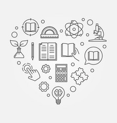 education heart in line style vector image