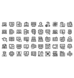 elearning icons set outline style vector image