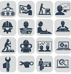 Engineering icons set on gray vector