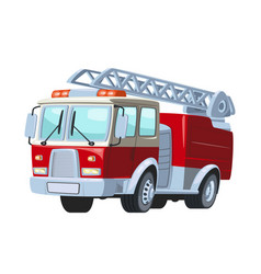 Fire truck car sticker for cartoon red vector