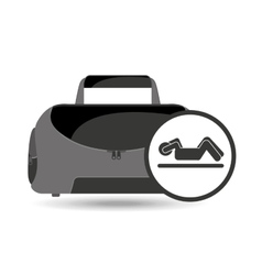 fitness sport bag icon silhouette abs workout vector image