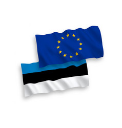 flags of estonia and european union on a white vector image