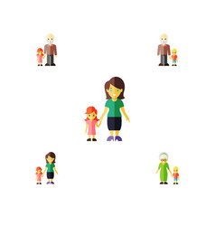 Flat icon relatives set of grandson grandpa vector
