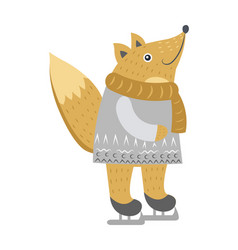 Fox isolated in warm clothes on skates on white vector