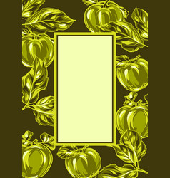 frame with apples and leaves vector image