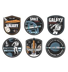 Galaxy explorer space travel icon set vector