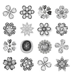 Gemstones greyscale jewelry brooch flower pattern vector