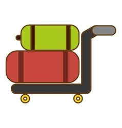 hand cart with luggage vector image