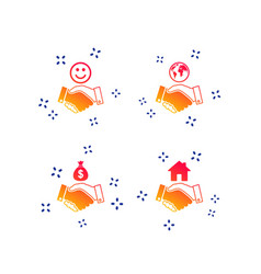 Handshake icons world smile happy face vector