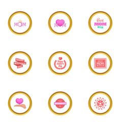 happy mama day icons set cartoon style vector image