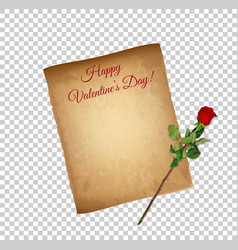 happy valentine day greeting card banner parchment vector image
