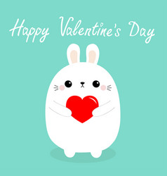 happy valentines day white baby rabbit hare puppy vector image