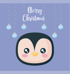 head of penguin with balls of christmas vector image