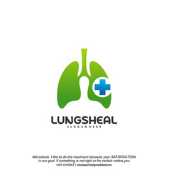 Health lungs logo designs lungs with plus symbol vector