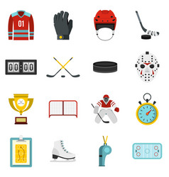 hockey set flat icons vector image