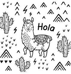 hola card ink cartoon llama print vector image