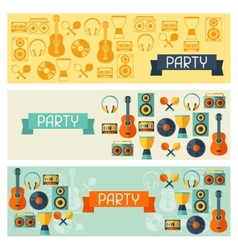 Horizontal banners with musical instruments in vector image vector image