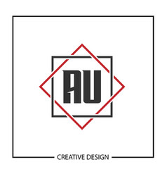 initial letter au logo template design vector image